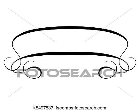 450x357 Clip Art Of Vector Calligraphy Ribbon Frame Banner K8497837