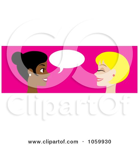 450x470 Royalty Free Vector Clip Art Illustration Of A Banner Of Two Women
