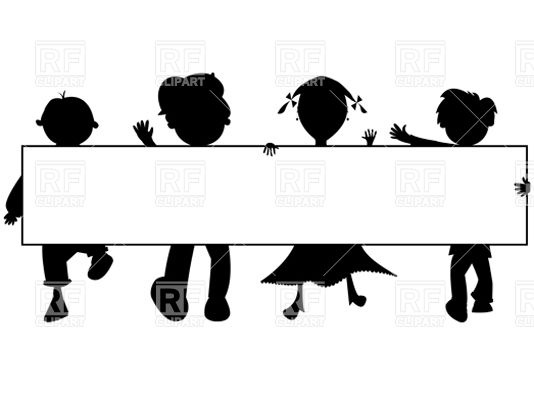 534x400 Silhouettes Of Kids With Blank Banner Royalty Free Vector Clip Art