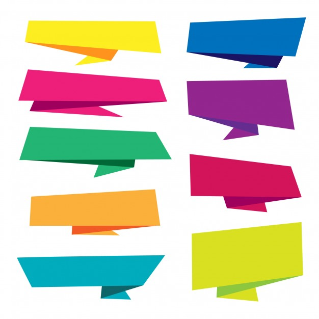 626x626 Colorful Origami Banner Collection Vector Free Download