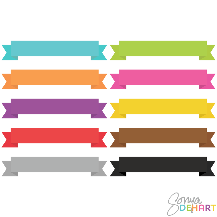 700x700 Clip Art Bright Plain Banner Ribbons