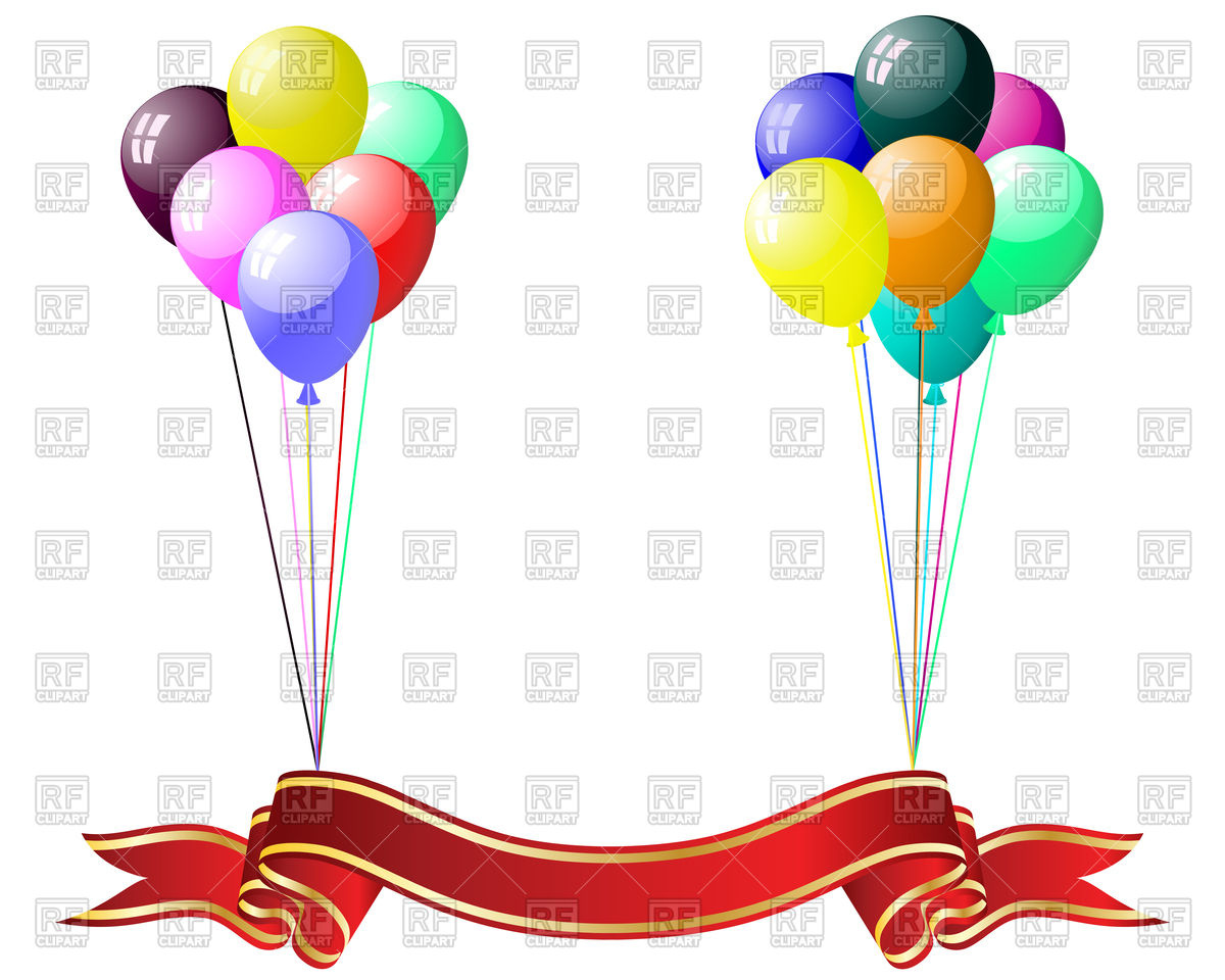 1200x960 Balloons And Red Ribbon Banner Royalty Free Vector Clip Art Image