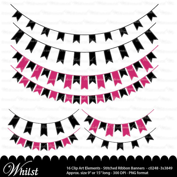 570x570 Pink And Black Banner Clip Art