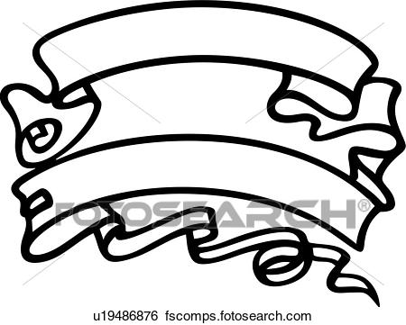 450x361 Clip Art Of , Renaissance, Banner, Ribbon, Scroll, U19486876