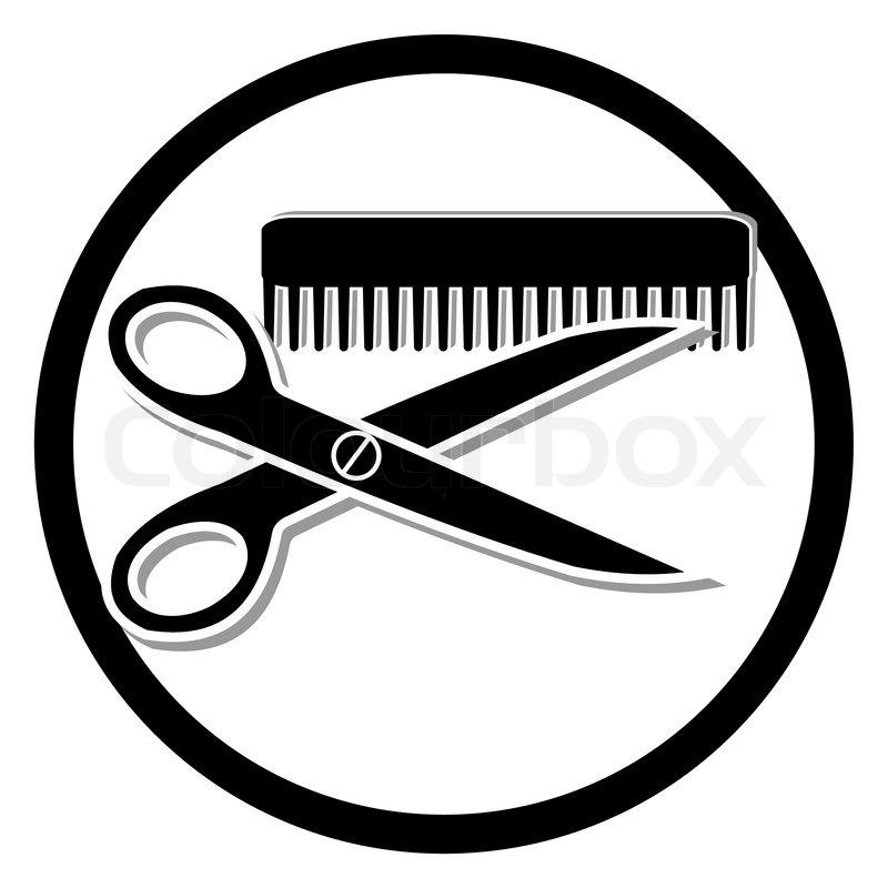 800x800 Haircut Or Hair Salon Symbol Stock Vector Colourbox