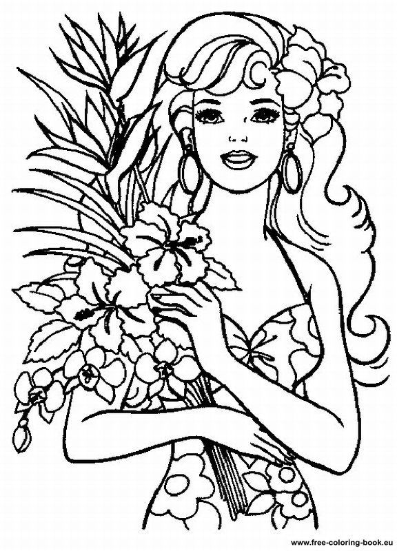 576x800 Barbie Clipart Printable Coloring Page