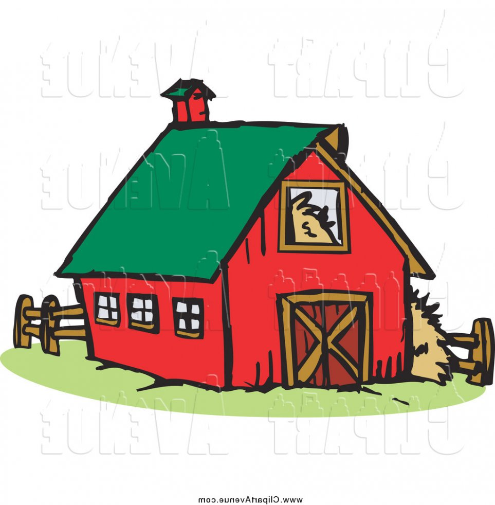 963x982 Avenue Clipart Of A Red Barn With A Green Roof (Attractive Barn