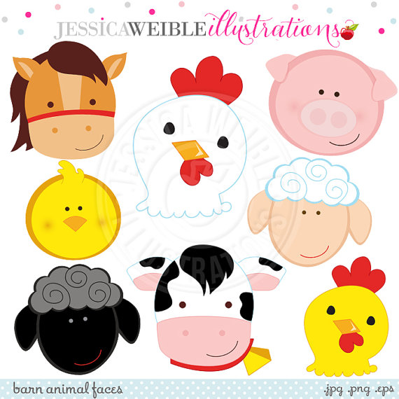 570x570 Barn Animal Faces Cute Digital Clipart Commercial Use Ok