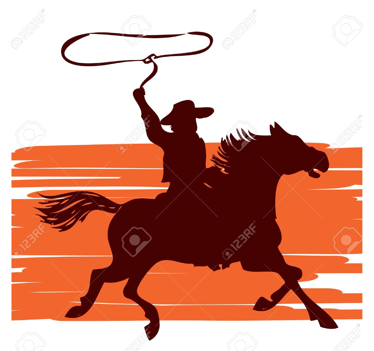 1300x1221 Cowboy On Horse With Lasso.graphic Royalty Free Cliparts, Vectors