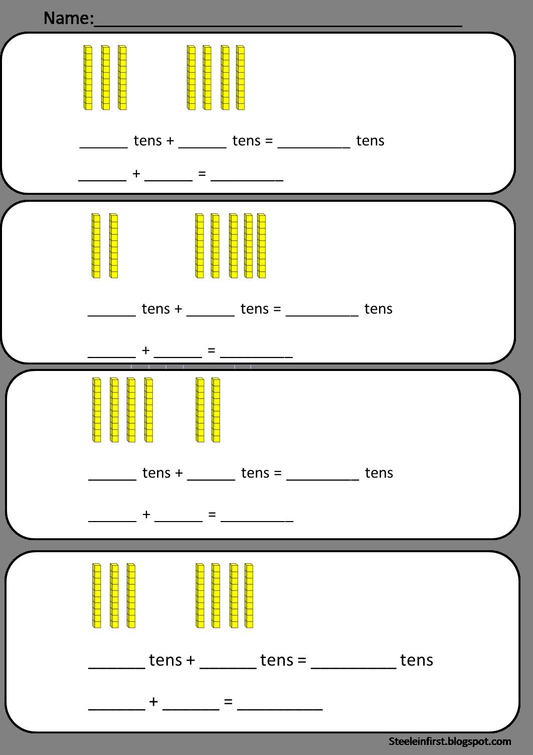 Base-ten-blocks-worksheets & Place Value Blocks