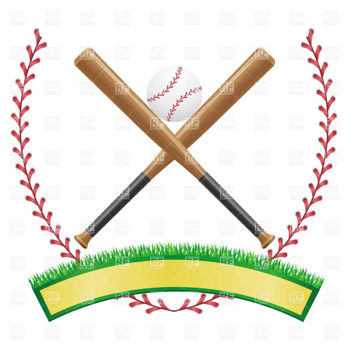 1200x1200 Baseball Emblem With Banner, Ball And Baseball Bats Royalty Free