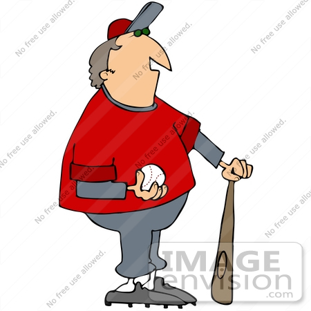 450x450 Clip Art Graphic Of A Baseball Coach With A Ball And Bat