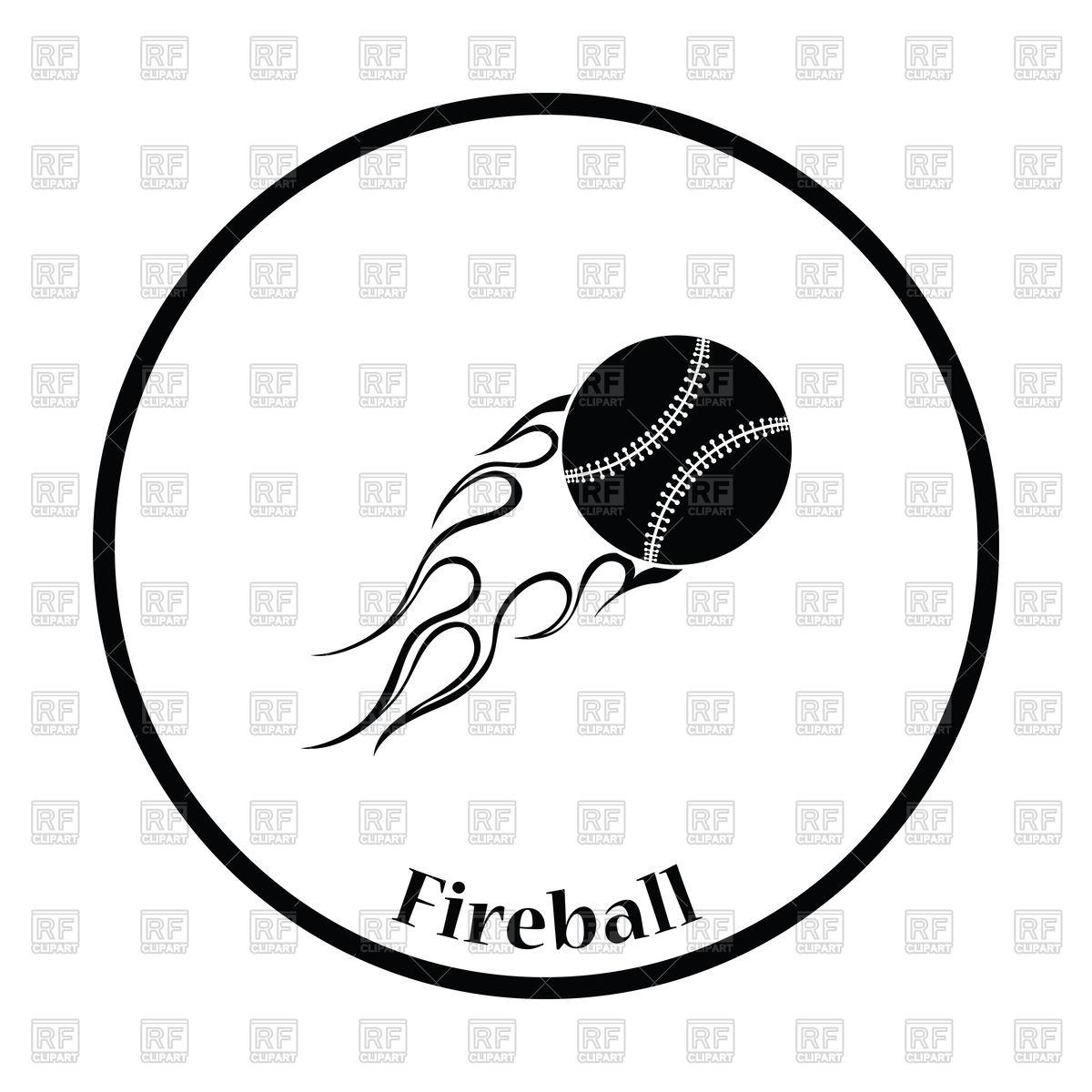 1200x1200 Flaming Baseball Ball Icon Royalty Free Vector Clip Art Image