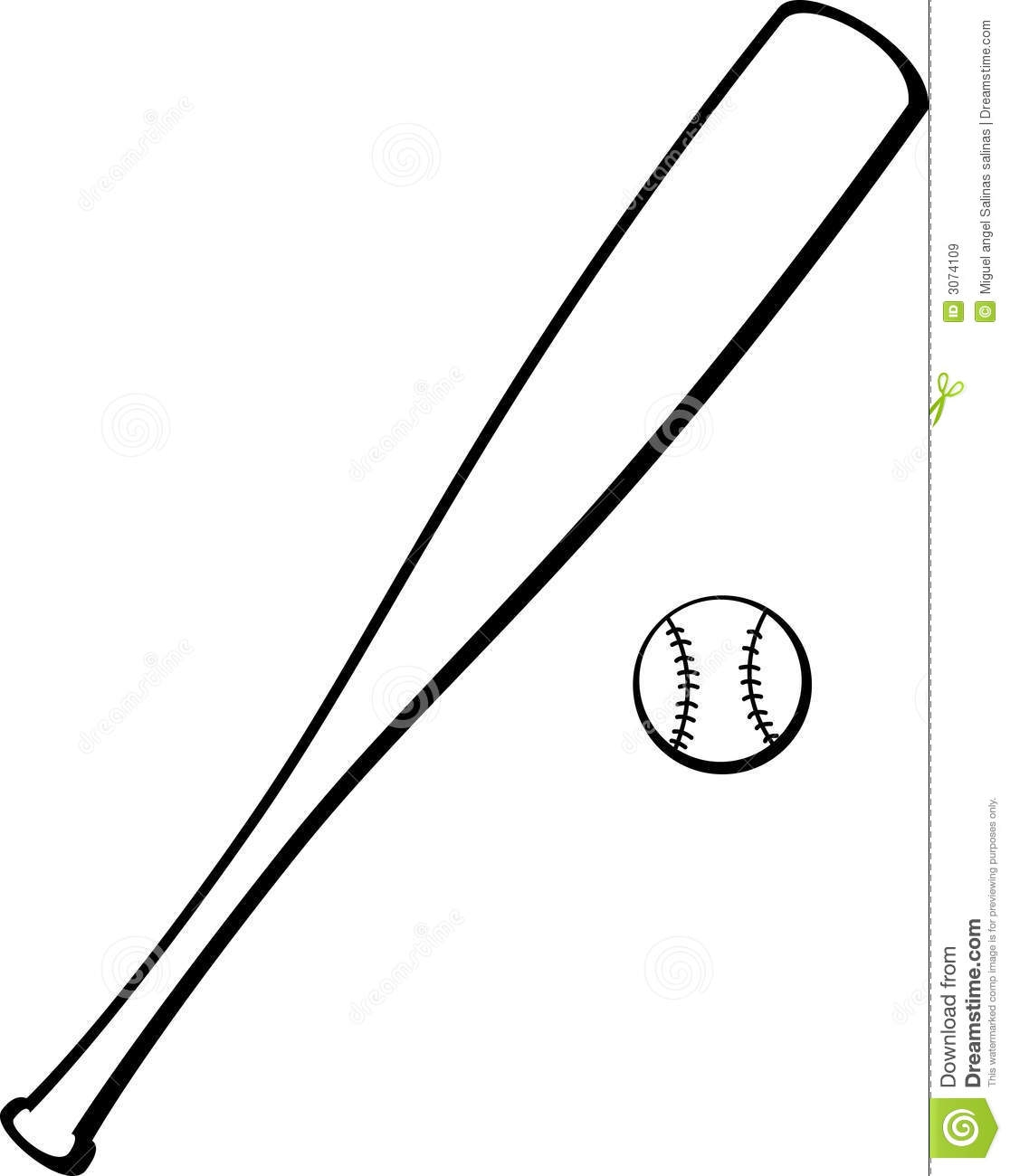 Baseball bat drawing. And ball clipart free