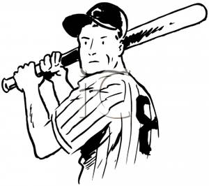 300x266 Black And White Silhouette Of A Baseball Batter Holding A Bat