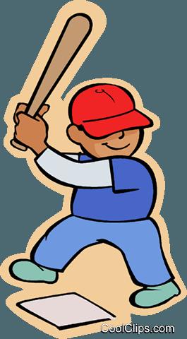 265x480 Little Boy With Baseball Bat Royalty Free Vector Clip Art