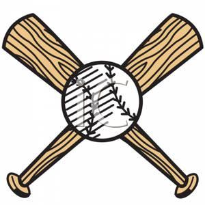300x300 Baseball And Crossed Baseball Bats Clip Art Image