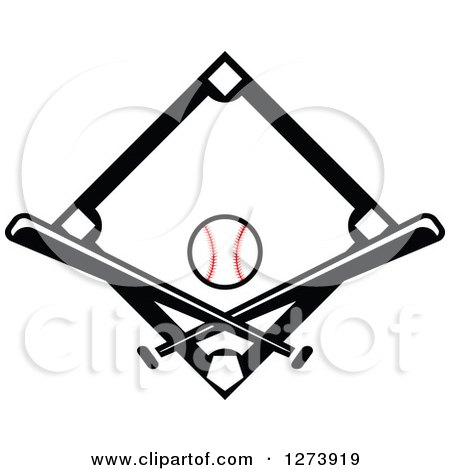 450x470 Clipart Of A Blue Diamond With A Baseball Crossed Bats Banners