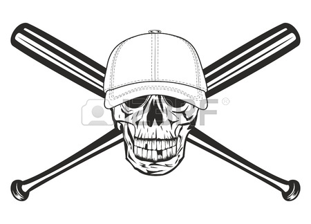 450x324 Illustration Ball In Baseball Cap And Crossed Bats Royalty Free