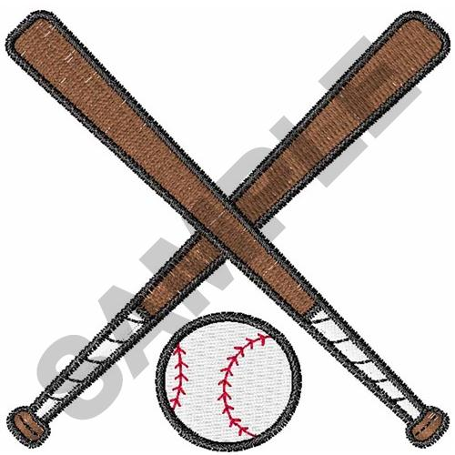 500x500 Sports Embroidery Design Crossed Baseball Bats And Ball