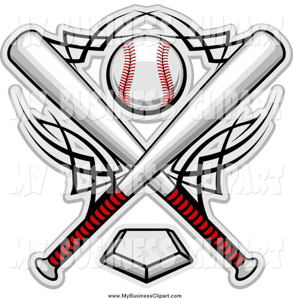 1024x1044 Vector Clip Art Of A Crossed Bats And A Baseball Over A Plate By