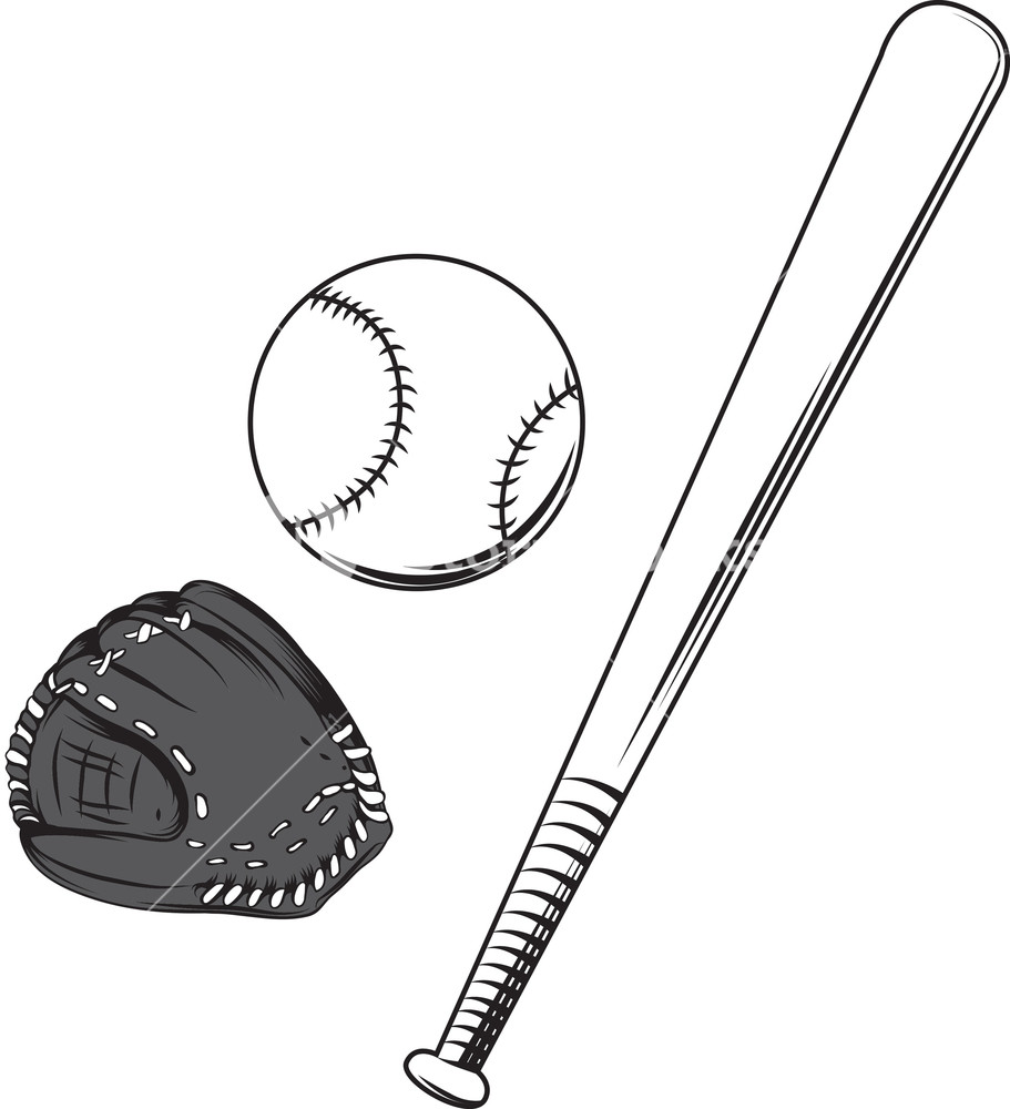 911x1000 Baseball Bat Vector Element With Ball Royalty Free Stock Image