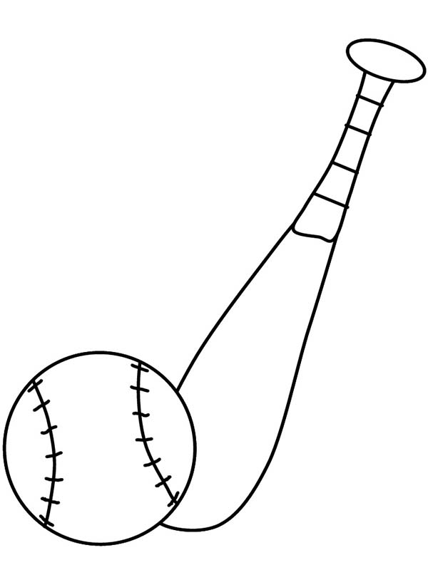 600x800 Baseball Bat And A Ball Coloring Page