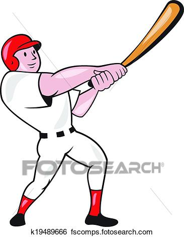 366x470 Clip Art Of Baseball Player Swinging Bat Cartoon K19489666