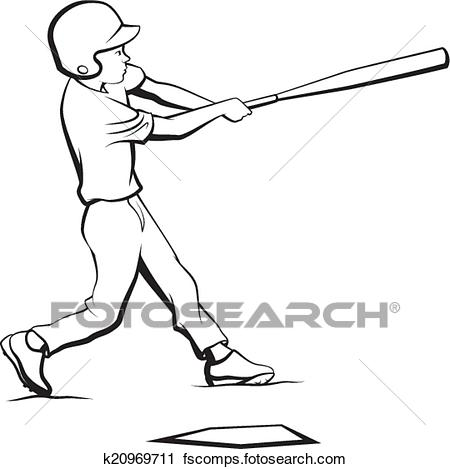 450x469 Clipart Of Baseball Boy Batting K20969711