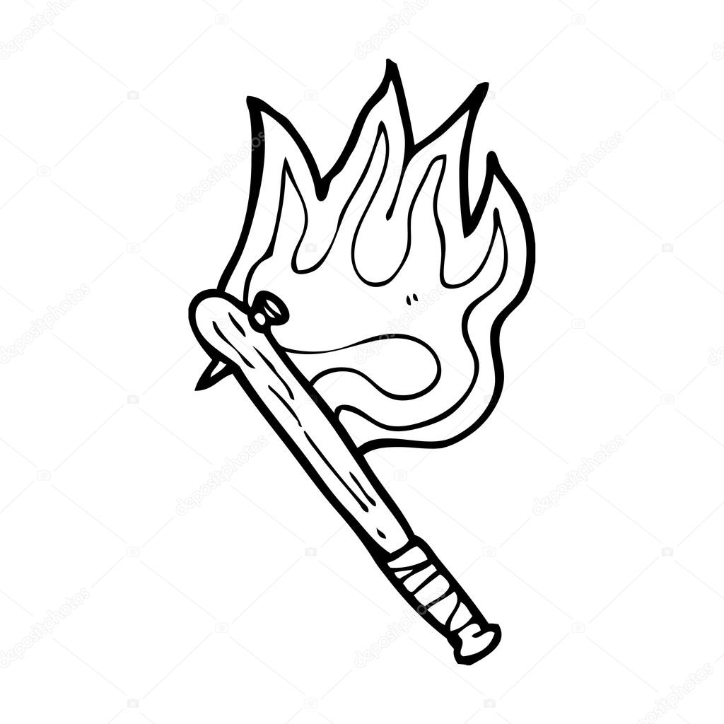1024x1024 Flaming Baseball Bat With Nail Stock Vector Lineartestpilot