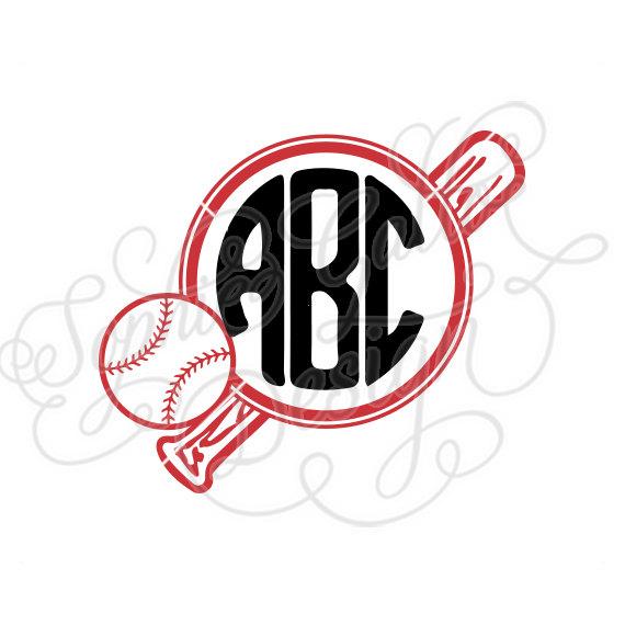 570x570 Ball Amp Bat Baseball Monogram Cut Svg Amp Dxf Files Instant Download
