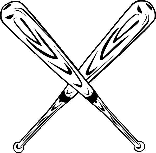 600x591 Crossed Bats Clip Art