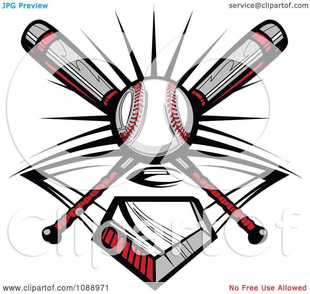1080x1024 Clipart Crossed Baseball Bats A Ball And Diamond