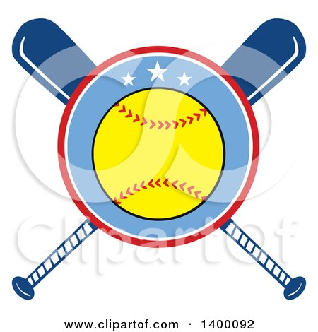 450x470 Clipart Of Crossed Wooden Baseball Bats And A Ball