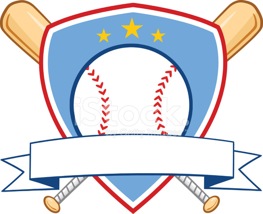 540x440 Crossed Baseball Bats With Ball Logo With Round Blue Banner Stock