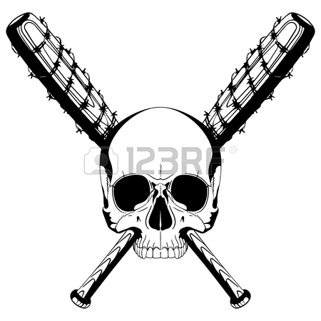 450x450 Design Of A Skull And Two Crossed Baseball Bats Covered