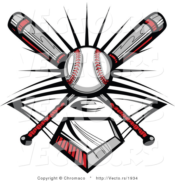 600x620 Vector Of A Ball And 2 Baseball Bats Crossed Over Home Plate By
