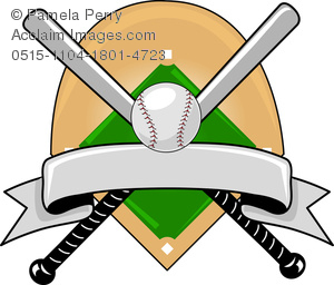 300x256 Art Image Of A Baseball Design With Bats Crossed Over A Baseball
