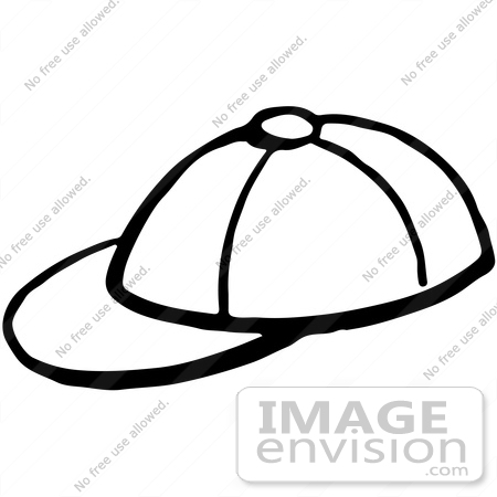450x450 Clipart Of A Baseball Cap In Black And White