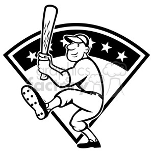 300x300 Royalty Free Black And White Baseball Player Batting Front Kick