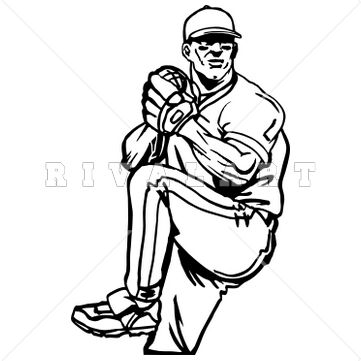 361x361 Sports Clipart Image Of Black White Baseball Pitcher Pitching
