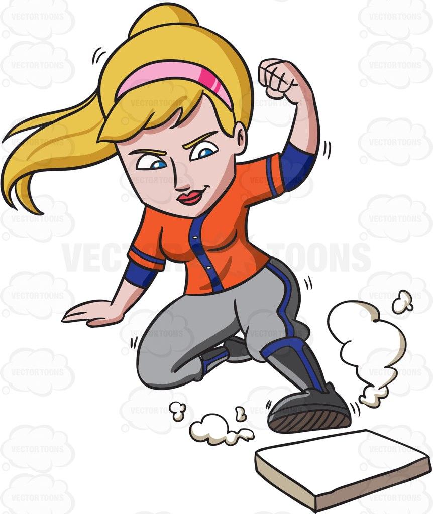 862x1024 A Female Baseball Player Slides Toward The Base Cleats