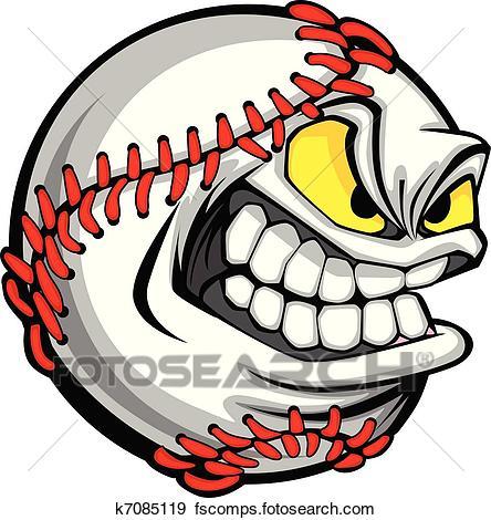 444x470 Clip Art Of Baseball Face Cartoon Ball Image K7085119