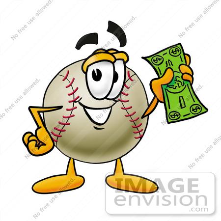 450x450 Clip Art Graphic Of A Baseball Cartoon Character Holding A Dollar