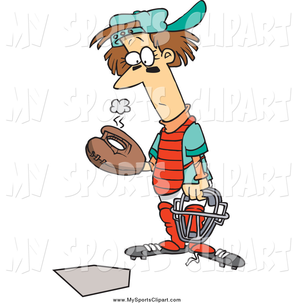 1024x1044 Sports Clip Art Of A Cartoon Baseball Catcher With A Hole In His