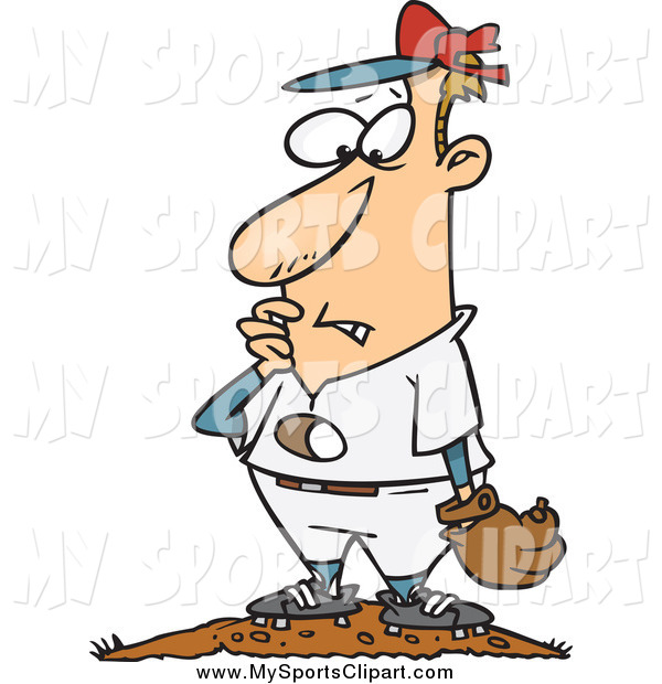 600x620 Sports Clip Art Of A Cartoon Baseball Pitcher With A Hole Through