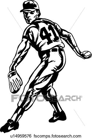 314x470 Clip Art Of Baseball Pitcher U14959576