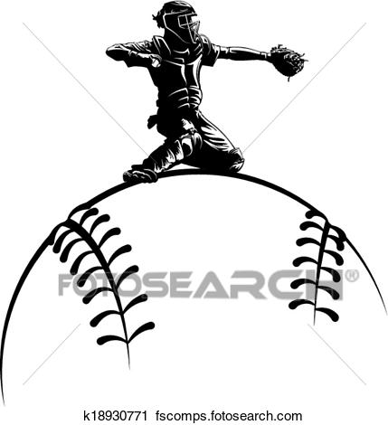 429x470 Clipart Of Baseball Catcher On Top A Sytlized K18930771