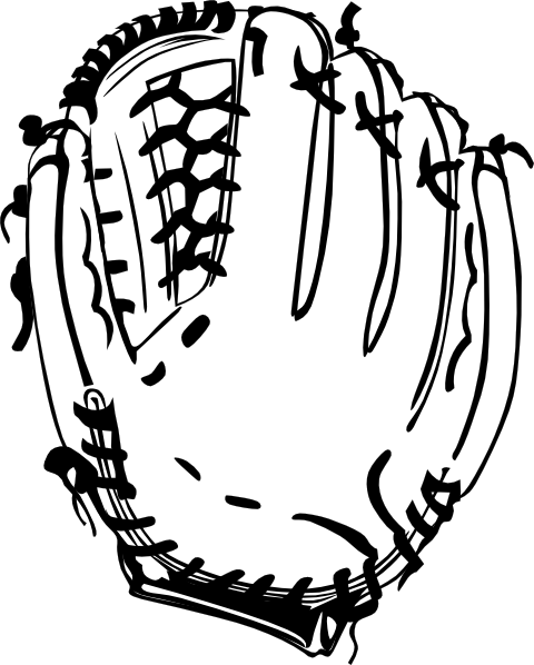 480x598 Baseball Glove B And W Clip Art