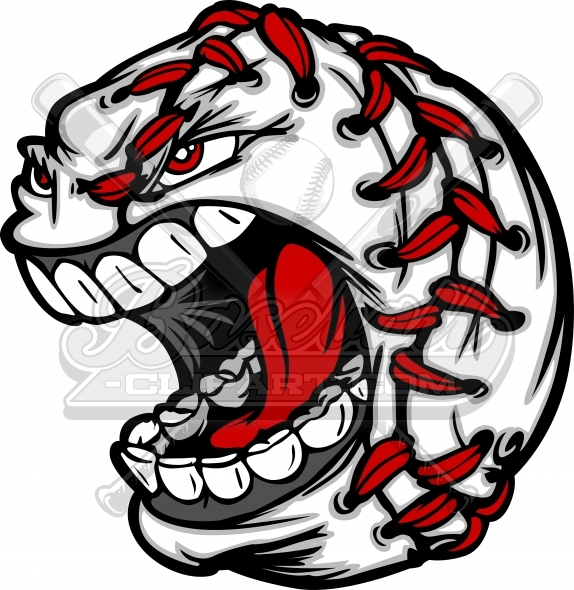 574x590 Cartoon Baseball Clipart. Angry Screaming cartoon baseball face image.